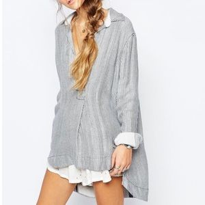 Free People On the Road Striped V-Neck Tunic